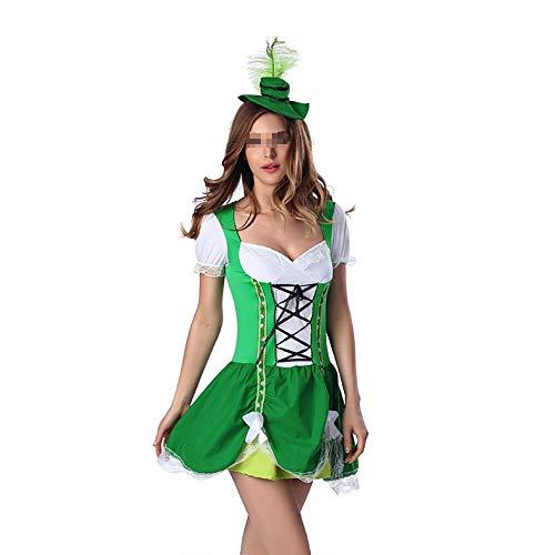 Cosplay Kostüme Grün Süßes Bier Mädchen Kleid Damen Halloween Kostüm Oktoberfest Beer Maid Kostüm Dirndl erotisch Größe M L - Grüne Bier Mädchen Kostüm