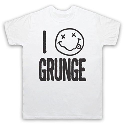 I Love Grunge Slogan Style Herren T-Shirt Weis