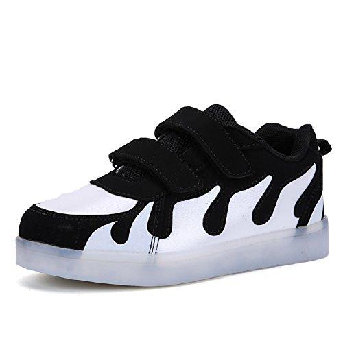 Frühling Sommer Unisex Kinder Jungen Mädchen Turnschuhe LED Flashing Schuhe 7 Farben USB Sneakers Weiß
