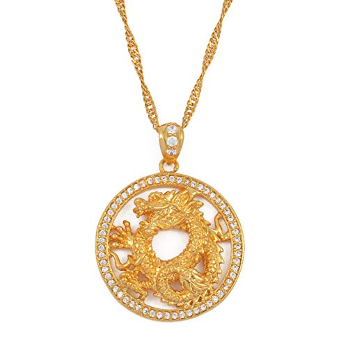 Runde Drachen Anhänger Halsketten Für Frauen Männer Mädchen Gold Farbe Schmuck Zirkonia Maskottchen Ornamente Glückssymbol 45cm (Kind Der Drachen Kostüm Muster)