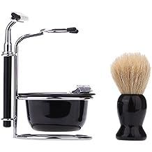 Abody 4 in 1 Manuale Razor Set Uomo Barba Rasoio Maschio viso strumento di pulizia Pennello da barba ciotola Stainess acciaio del supporto del basamento 5 lame rasatura bagnato