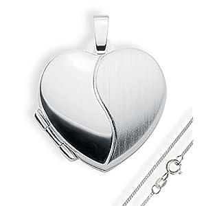 Haus der Herzen Medaillon 925 Silber Herz zum öffnen für Bildereinlage/ 2 Fotos Amulett