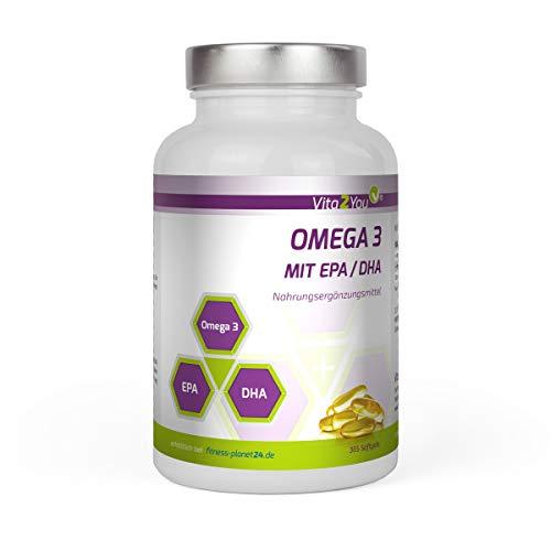 Omega 3 Kapseln 1000mg mit EPA & DHA - 365 Softgel Kapseln - Fischöl - Jahrespackung - Premium Qualität -