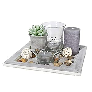 ootb Decor Teelicht Teller Geschenkset, Mehrfarbig, 20x 20x 8