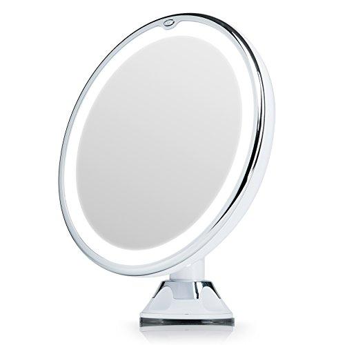 Fancii Miroir Maquillage Grossissant 7x Lumineux à Ventouse avec 20 Lumières LED Naturelles, Verrouillage Ventouse, Miroir...