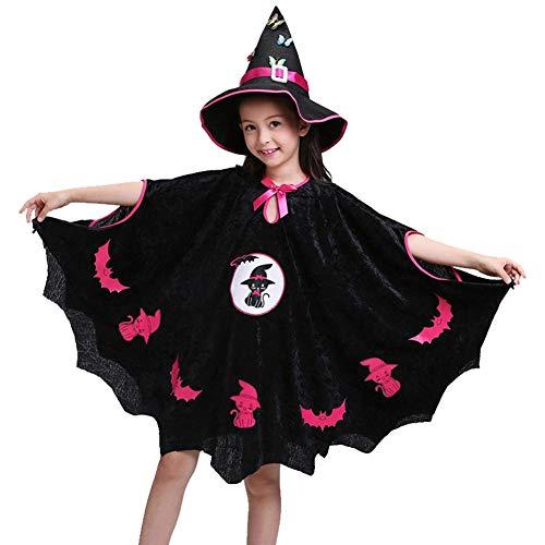 Ecisi Magische Hexe Kind Batgirl Kleid, kleine Mädchen Fledermaus Kostüme, Halloween Weihnachten Cosplay Kleid für Mädchen, entzückende Schwarze Spinne Kleinkind Batgirl - Kleinkind Mädchen Batgirl Kostüm