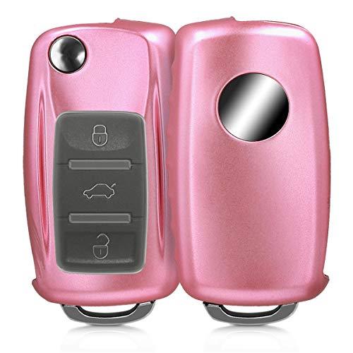 kwmobile Autoschlüssel Hülle für VW Skoda Seat - TPU Schutzhülle Schlüsselhülle Cover für VW Skoda Seat 3-Tasten Autoschlüssel Rosegold matt