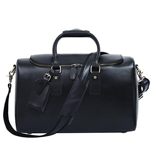 Leathario Herren Echtleder Weekender Reisetasche Ledertasche Handgepäck Vintage Retro Schwarz