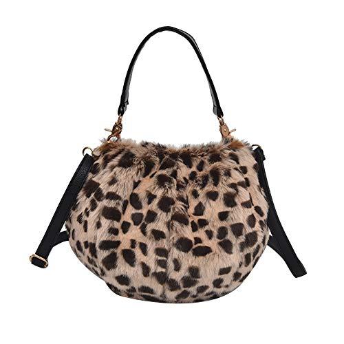 Bolsa de Estampado Leopardo del Hombro Mullido Cross Body Bag Monedero del Cambio de Cuerpo de la Cruz del Bolso para Las Muchachas de Las Mujeres de teléfono Bolsa Bolsa de Mensajero