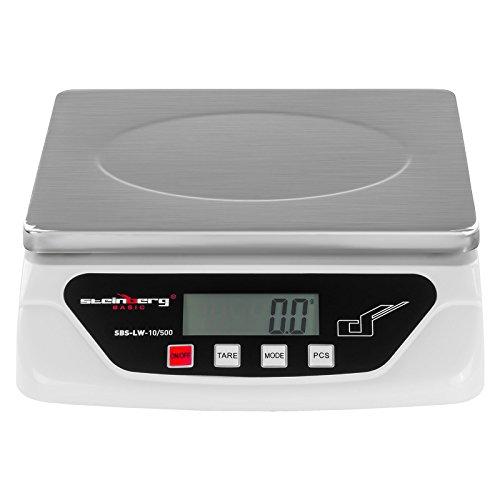 Steinberg Basic Báscula digital Balanza pesacartas SBS-LW-10/500 (10 kg, Precisión 0,5 g, 6 unidades, Función de recuento, 21,7x17,7cm, Pantalla LCD)