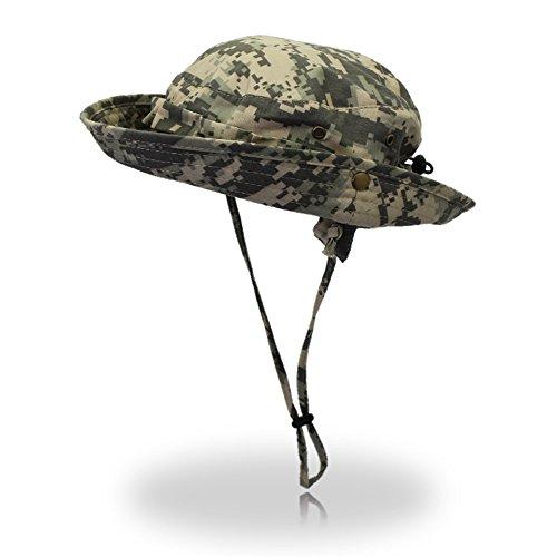YuFLangel Camouflage-Digital-Übertopf, für Camping, im Freien und für Herren, Angeln, Solarzelle, Bionic Jungle Cap