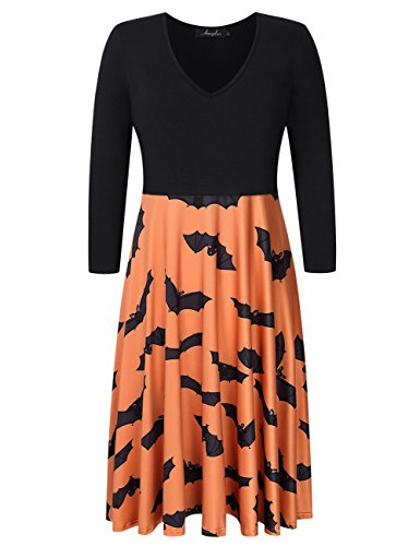 Zantec AMZ PLUS Frauen Plus Size Halloween Kostüme Print Splicing 3/4 Ärmel Swing Dress (Plus Size Weihnachten Kostüme)