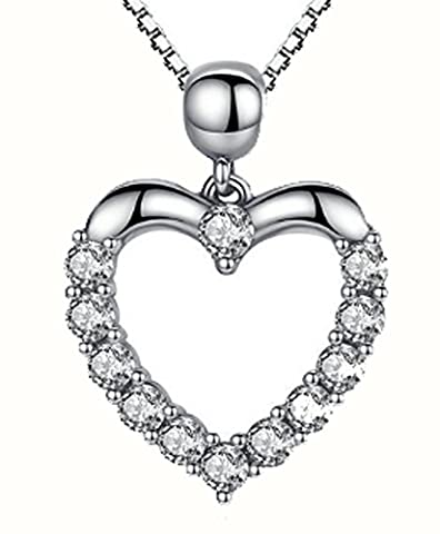 SaySure - 925 Sterling Silver Heart Love Pendant Necklaces
