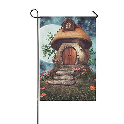JOCHUAN Home Dekorative Outdoor Doppelseitige Bunte Märchen Pilz Cottage Blumen Efeu Garten Flagge, Haus Hof Flagge, Garten Hof Dekorationen, saisonale Willkommen Outdoor Flagge -
