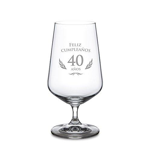 Copa de cerveza para el 40 cumpleaños – Cervezas tipo Pilsen – Vaso de cristal con grabado – Copa tulipa – Estándar – Idea de regalo para mujeres y hombres – Para amantes de la cerveza – Capacidad: 0,4 l – Regalos originales de cumpleaños