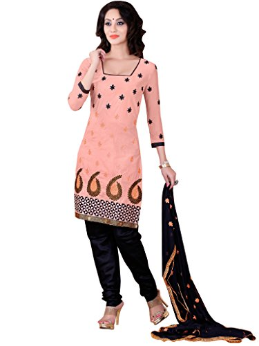 Vibes Womens Georgette Patch Work Straight Dress Material (V121-1007 _Pink _Free Size)