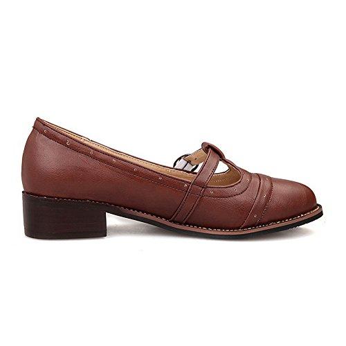 Marrón Pu Sólido Cuero Voguezone009 La Bajo Zapatos Ronda Mujer De H1qzwtq
