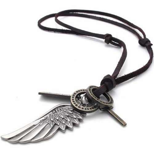 KONOV Schmuck Herren Halskette, Engel Flügel Kreuz Anhänger mit Leder Kette, Braun Silber