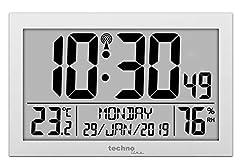 Idea Regalo - Technoline WS8016 WS 8016 - Orologio da Parete radiocontrollato con indicatore della Temperatura, in plastica, 225 x 143 x 24 mm, Colore: Argento