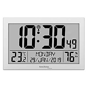 Technoline WS 8016 Digitale Funkwanduhr mit Temperatur- und Luftfeuchtigkeitsanzeige (Silber mit Batterien)