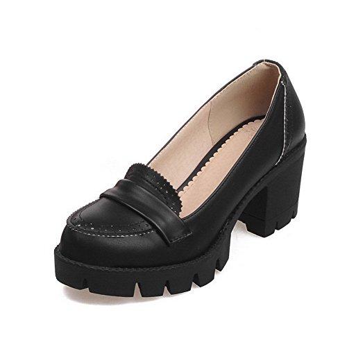 AllhqFashion Damen Weiches Material Rund Zehe Ziehen Auf Rein Pumps Schuhe Schwarz
