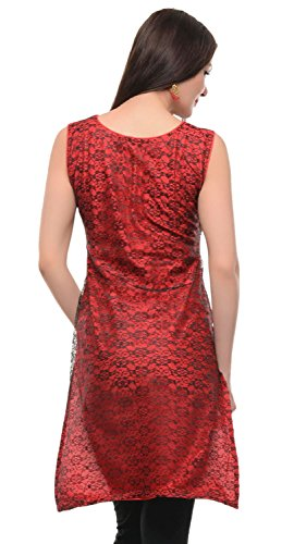 Maple Clothing Indian ärmel Kurti Lange Tunika Ober Womens Party Wear Kastanienbraun