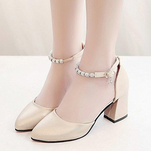RUGAI-UE Estate sandali donne High-Heeled fibbia scarpe scarpe alla moda Champagne