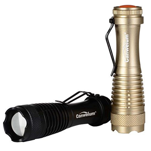 Canwelum - Torcia LED Cree Potente dello Zoom, Torcia a LED Mini Tattica (2 x Torce e 2 x Batterie)
