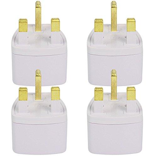 4X MENGS® adaptador de enchufe de viaje para el Reino Unido Inglaterra Reino Unido 3 clavija (AC 250V 13 Color: Blanco) con material de ABS para conexión universal