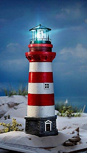 Leuchtturm (XXL LED Leuchtturm Garten Außenbeleuchtung maritime Garten Deko 55cm Lampenhaus rot weiß bis zu 6 Stunden rotierendesLeuchtfeuer Timer funktion)
