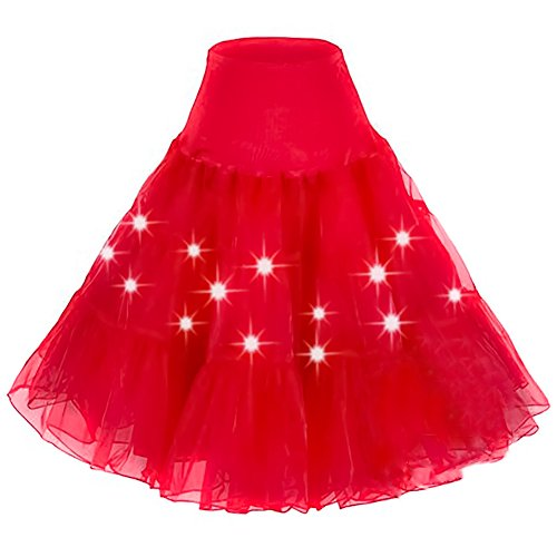 HENCY Karneval Fasching Kostüm Retro Petticoat Rock Ballett Tutu Unterrock Mit LED Licht Rot Large (Engel Petticoat)