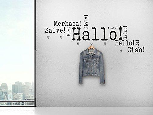 KLEBEHELD® Wandtattoo Garderobe Hallo Hello Ciao mit 6 Edelstahl Wandhaken - Wandtattoo Hallo