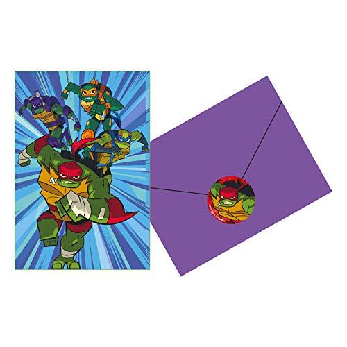 Amscan International 9904565 Einladungskarten, Motiv The Rise of Teenage Mutant Ninja Turtles, 8 Stück
