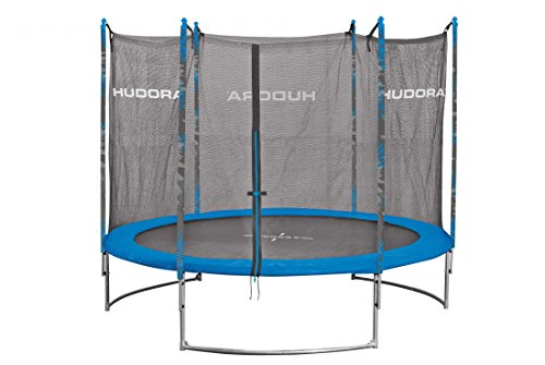 HUDORA Family Trampolin/Gartentrampolin, mit Sicherheitsnetz, Blau, 300 cm, 65635