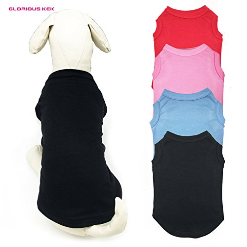 Mit Tracking-nummer Basic atmungsaktive Baumwolle Plain Hund T Shirt Weste solide Hund Tank Shirt Leer in Multi-Colors, schwarz, S (Hunde T-shirt Plain)