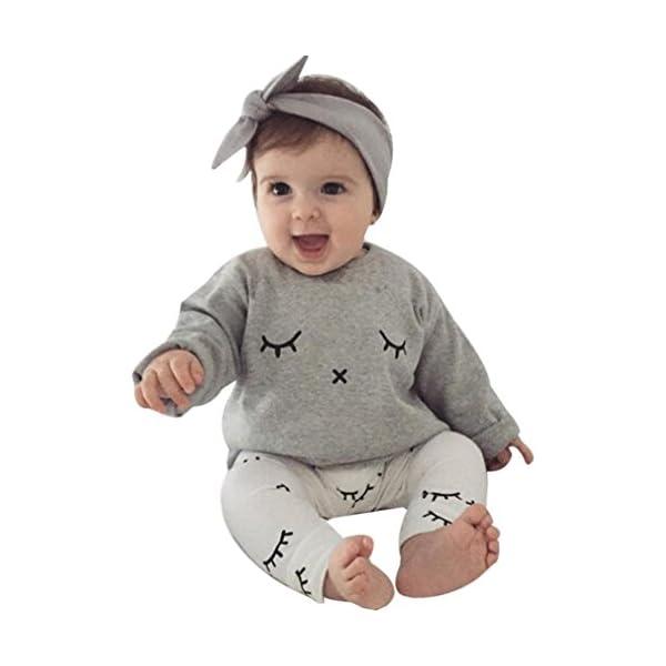 Infantil Bebé Niño niña Cute pestañas de impresión Camiseta Tops + Pantalones Trajes Ropa 1