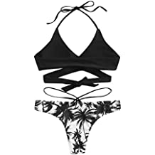 2019 Mujer Bikinis Conjuntos, Verano Ropa de Baño, Moda Dama Sin Cables Tira Impresión
