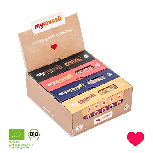 mymuesli Müsliriegel Probierpaket - 12 x 35g - 6 Sorten in einem Paket - 100% BIO - Hergestellt in Deutschland -