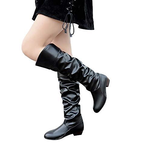 OSYARD Damen Langschaftstiefel Kunstleder Niedriger Absatz Biker Boots Schneestiefel, Frauen Kniehohe Stiefel Einfarbig Flache Lederstiefel Slip-On Stiefel Party Schuhe (240/39, Schwarz)