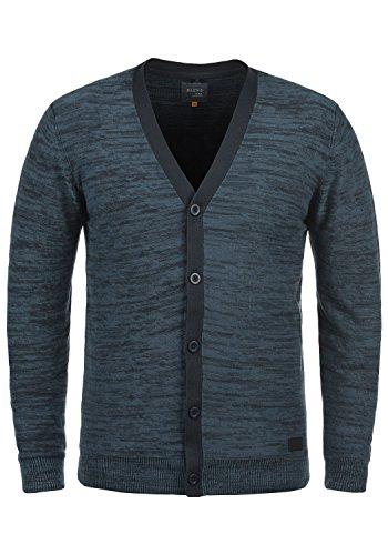 BLEND Baron Herren Strickjacke Cardigan Feinstrick mit V-Ausschnitt aus 100% Baumwolle Meliert, Größe:M, Farbe:Navy (70230)