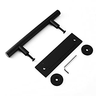 Black Stainless Steel Sliding Barn Door Handle Pull and Flush Set Two-Sided Handle Hardware