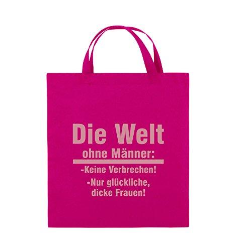 Comedy Bags - Die Welt ohne Männer - keine Verbrechen nur dicke Frauen - Jutebeutel - kurze Henkel - 38x42cm - Farbe: Schwarz / Silber Pink / Rosa