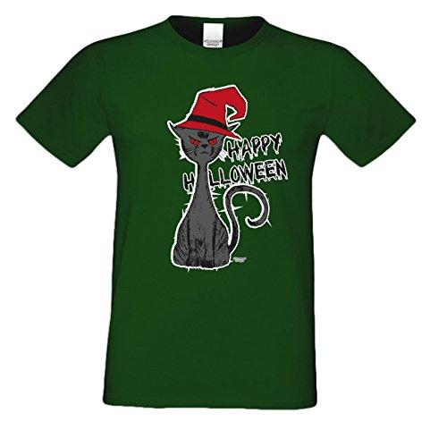 Herren-Halloween-Kostüm-Motiv-Fun-T-Shirt auch in Übergrößen 3XL 4XL 5XL Halloween Katze Party Outfit Kürbis Monster Gespenster Geister Farbe: dunkelgrün Dunkelgrün