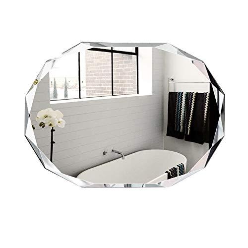 Miroir de salle de bains Badspiegel, oval, Diamantgröße, Vanitaspiegel, ohne Rahmen, geeignet für alle Arten von Badezimmer und Schlafzimmer, A, 60cm X 80cm