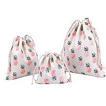 Abaría - 3 unidades bolsa de algodón con cuerdas – Pequeña saco bolsas - Bolsa inserto