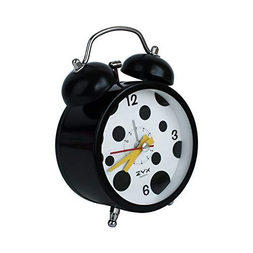 Emartbuy 3 Pulgadas Sin Tic TAC Mesilla de Noche/Mesa Reloj Despertador de Cuarzo con Luz de Fondo, De Pilas Reloj de Viaje, Redondo y Ruidoso Reloj de Alarma de Doble Campana - Lunares Negro