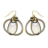 CCcollections Handmade Bamboo Earrings Brass Fashion 10 Design Colorful each design in 3 color (Yellow Black, Style A)