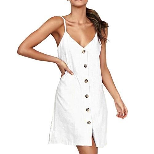 Onceal Sexy Damenmode mit V-Ausschnitt Damen Volltonfarbe Knöpfe beiläufiges Minikleid (S, Weiß)