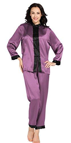 LILYSILK Ensembles de Pyjama en Soie Femme Style Chinois 22 Momme Violet