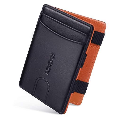 Wincret sottile magico portafoglio uomo piccolo con coin pocket/protezione rfid/accessoveloce - vera pelle portafoglio magicoe portachiavi per uomini e donne - magic wallet